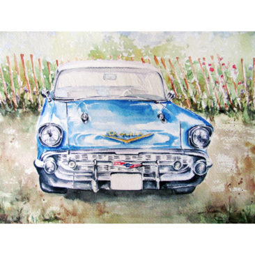 "1956 Chevy Bel Air, Watercolor, 11"" x 14"", 2016, by ArtWheels Artist Mary Morano"