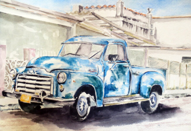 "GMC 1950 Pickup Truck, Watercolor, 11"" x 14"", 2016, by ArtWheels Artist Mary Morano"