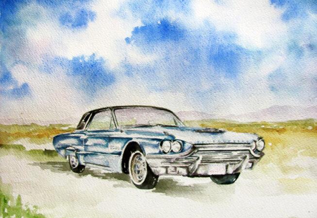 "1965 Blue Thunderbird Convertible, Watercolor, 11"" x 14"", 2016, by ArtWheels Artist Mary Morano"
