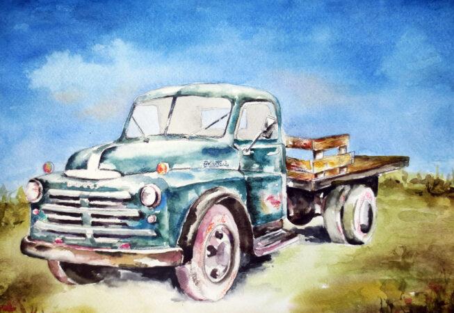 "Dodge 1950 Pick Up Truck, Watercolor, 11"" x 14"", 2016, by Artwheels Artist Mary Morano"