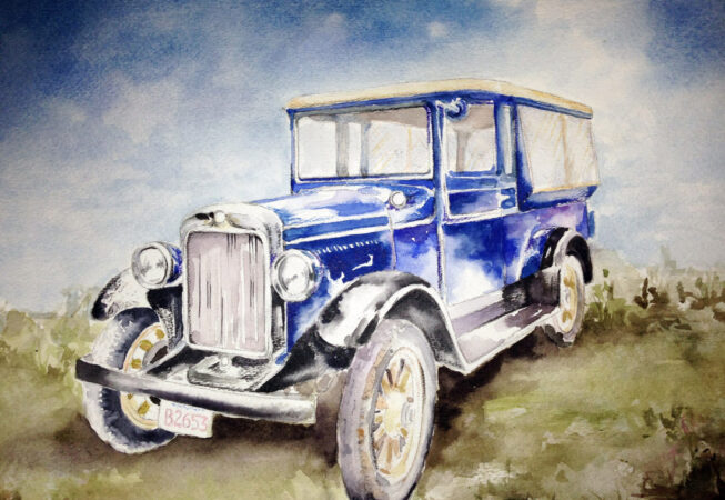 """Ford Model A Classic Car, Watercolor, 11"""" x 14"""", 2016, by ArtWheels Artist Mary Morano"""