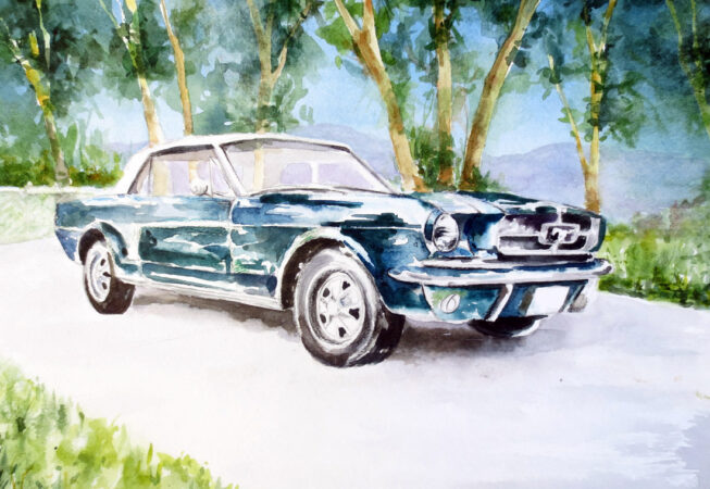 """1964 Green Ford Mustang, 11"""" x 14"""", Watercolor, by ArtWheels Artist Mary Morano"""