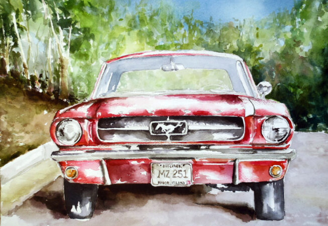"""Red Mustang Dream Car, Watercolor, 11"""" x 14"""", 2016, by ArtWheels Artist Mary Morano"""