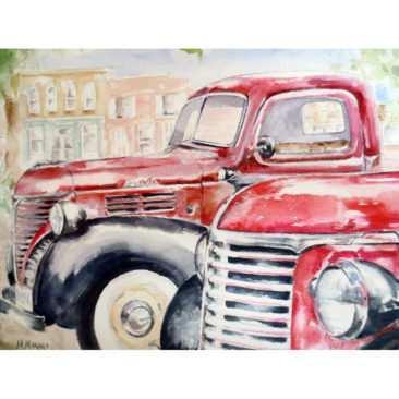 """1940 PT 105 Red Plymouth Trucks, Watercolor, 11"""" x 14"""", 2016, by ArtWheels Artist Mary Morano"""