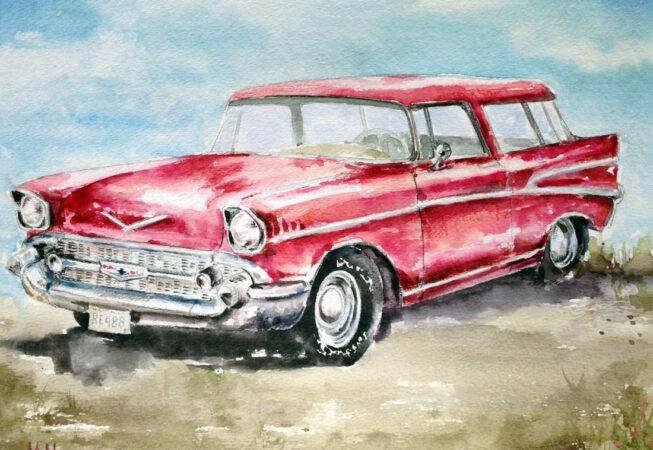 "1957 Chevy Bel Air, Watercolor, 11"" x 14"", 2016, by ArtWheels Artist Mary Morano"