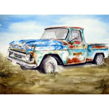 "1971 C10 Chevy Truck, Watercolor, 11"" x 14"", 2016, by ArtWheels Artist Mary Morano"