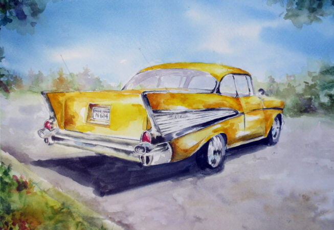 """1956 Canary Yellow Chevy, Watercolor, 11"""" x 14"""", 2016 by ArtWheels Artist Mary Morano"""
