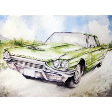 "1965 Green Ford Thunderbird, Watercolor, 11"" x 14"", 2016, by ArtWheels Artist Mary Morano"