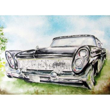 "Lincoln Continental 1960, Watercolor, 11"" x 14"", 2016, by ArtWheels Artist Mary Morano"
