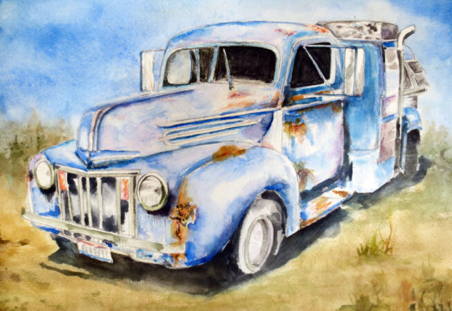 """1946 Ford Truck Painting, Watercolor, 11"""" x 14"""", 2016, by ArtWheels Artist Mary Morano"""